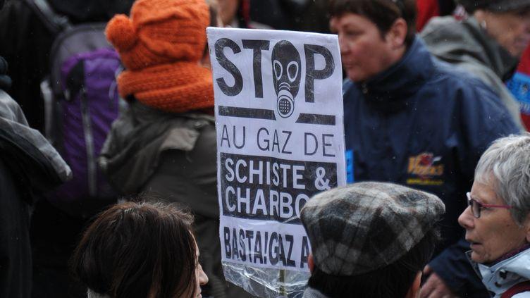 Des opposants au gaz de schiste réunis à Barjac (Gard), le 28 février 2016. (SYLVAIN THOMAS / AFP)
