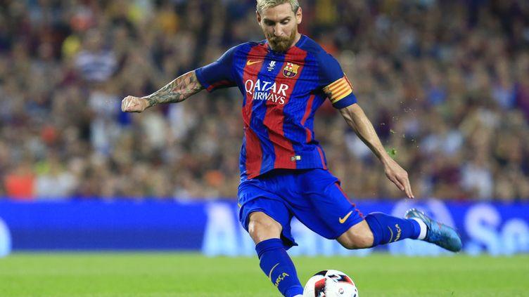Lionel Messi, marqueur du 3e but catalan. (PAU BARRENA / AFP)