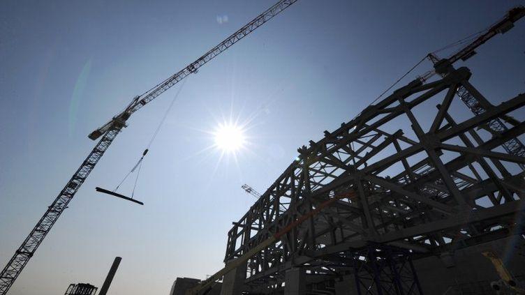 Le chantier de construction du musée des Confluences, à Lyon (Rhône), le 26 mars 2012 (PHILIPPE DESMAZES / AFP)