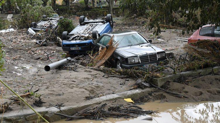 Le village de Trèbes, près de Carcassonne, ici le 16 octobre 2018, a particulièrement souffert des inondations. (BOYER CLAUDE / MAXPPP)