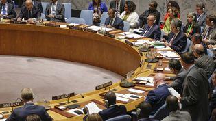 """Pour les Etats-Unis, le Royaume-Uni, la France et l'Italie, la résolution adoptée lundi est """"très solide"""", """"équilibrée"""" et permet à l'ONU d'affirmer """"unité"""" et """"détermination"""", après la réunion du Conseil de sécurité de l'ONU à New York (Etats-Unis) du 11 septembre 2017. (KENA BETANCUR / AFP)"""