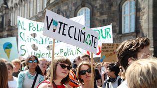 """Des manifestants brandissent une pancarte """"Vote for climate"""" à Copenhague (Danemark), le 24 mai 2019, avant les élections européennes. (MAXPPP)"""