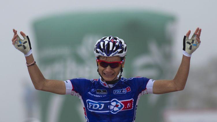 Kenny Elissonde, ému, lors de sa victoire au sommet de l'Angliru sur la Vuelta 2013 (JAIME REINA / AFP)