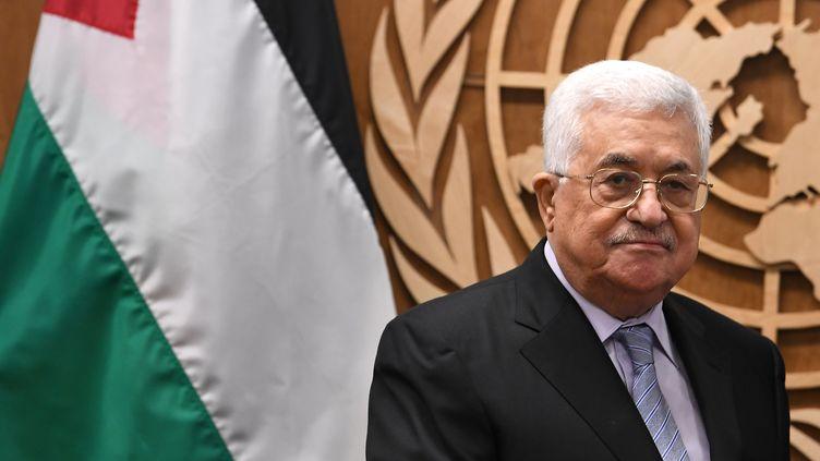 Mahmoud Abbas, au siège des Nations unies, à New York (Etats-Unis). (ANGELA WEISS / AFP)