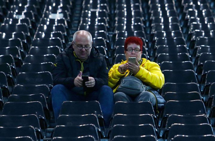 Des supporters du Borussia Dortmund, le 11 avril 2017 à Dortmund (Allemagne). (MATT WEST / BPI / SHUTTERST / SIPA / REX)