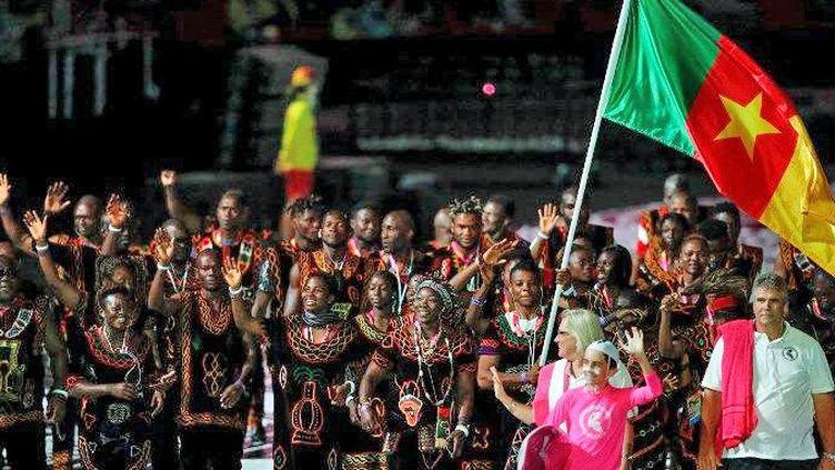 La délégation du Cameroun lors de la cérémonie d'ouverture des Jeux du Commonwealth à Gold Coast, sur la côte est de l'Australie, le 4 avril 2018. ( Adrian DENNIS / AFP)