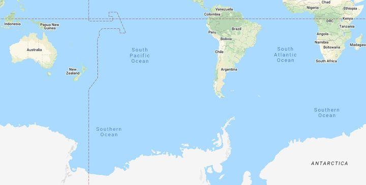 Le point Némo, éloigné de toute terre à 2 700km à la ronde. (GOOGLE MAPS)