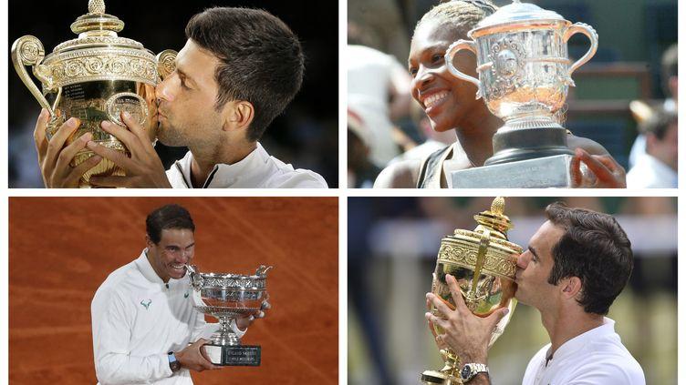 Novak Djokovic en 2019 lors de son titre à Wimbledon; Serena Williams lors de son titre à Roland-Garros en 2002; treizième trophée pour Rafael Nadal à Roland-Garros en 2020; sacre de Roger Federer à Wimbledon en 2017.