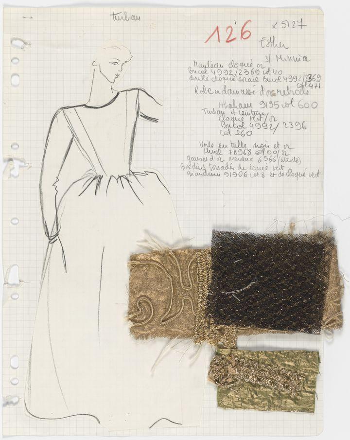 """Fiche du studio dite """"fiche de bible"""" de la robe de mariée dite Shakespeare collection haute couture automne-hiver 1980 (Yves Saint Laurent)"""