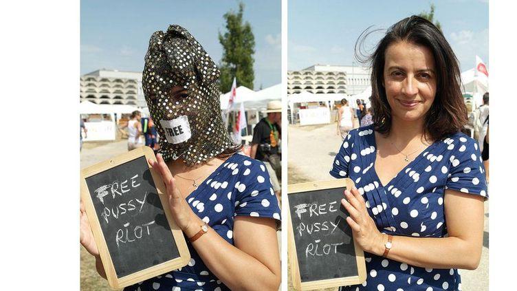Cécile Duflot porte une cagoule, lors des Journées d'été d'EE-LV à Poitiers (Vienne),en soutien aux punkettes de Pussy Riot emprisonnées en Russie. (FREE-PUSSY-RIOT-EELV.TUMBLR.COM)