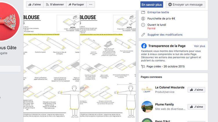 Agathe Lefeuvre a conçu un prototype de blouse pour les soignants, qu'elle a publié sur internet(capture écran). (FACEBOOK)