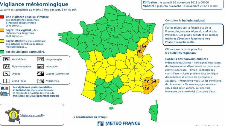Capture d'écran de la carte de vigilance de Météo France le 10 novembre 2012. (FRANCETV INFO )