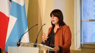 Michèle Rubirola, maire de Marseille, lors de sa conférence de presse durant laquelle elle a annoncé sa démission, le 15 décembre 2020. (NICOLAS TUCAT / AFP)