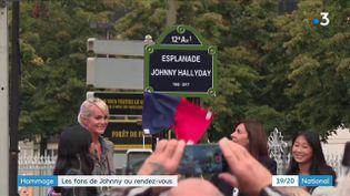 Quatre ans après son décès, Johnny Hallyday continue de faire rêver ses fans. Ce mardi 14 septembre, ils ont pu découvrir une statue et une plaque en hommage au rockeur. Avant d'espérer assister à un concert-hommage au palais omnisports de Paris-Bercy (XIIe arrondissement). (FRANCE 3)