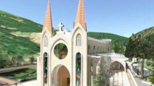 Capture écran reportagesur la construction d'une église en Ardèche (FRANCE 3)