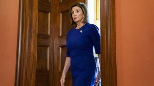 Nancy Pelosi, cheffe de file démocrate de la Chambre des représentants, a annoncé mardi 24 septembre le lancement d'une procédure d'impeachment à l'encontre de Donald Trump. (JIM LOSCALZO / CONSOLIDATED NEWS PHOTOS / AFP)