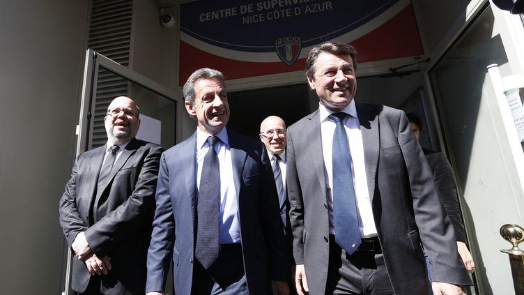 L'ancien président Nicolas Sarkozy et Christian Estrosi, le 26 avril 2016, à Nice (Alpes-Maritimes). (VALERY HACHE / AFP)
