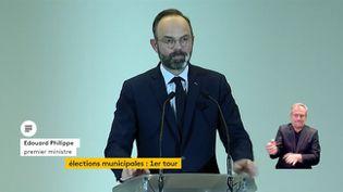 Edouard Philippe réagit aux résultats du premier tour des élections municipales, le 15 mars 2020. (FRANCEINFO)