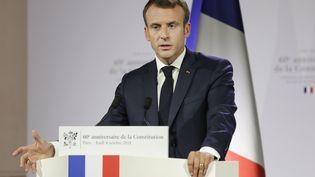 Emmanuel Macron lors d'un discours devant le Conseil constitutionnel, le4 octobre 2018, à Paris. (THOMAS SAMSON / AFP)