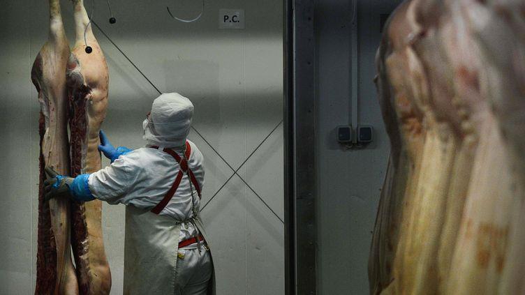 Un ouvrier travaillant dans l'abattoirDoly-Com en Roumanie, montré du doigt dans le scandale de la fraude à la viande de cheval, le 12 février 2013. (DANIEL MIHAILESCU / AFP)
