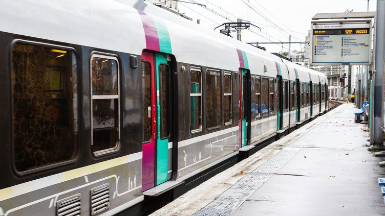 Le RER B quitte la station Cité Universitaire, à Paris, le 8 décembre 2019. (AMAURY CORNU / HANS LUCAS / AFP)