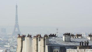 Un épisode de pollution aux particules fines à Paris, le 3 mars 2021. (JOAO LUIZ BULCAO / HANS LUCAS / AFP)