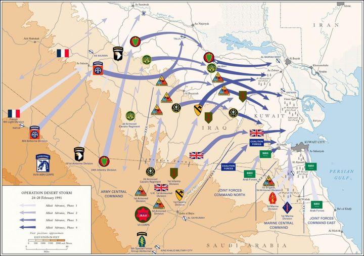 """Carte de l'offensive terrestre """"Tempête du désert"""". (Légion étrangère / Armée de terre)"""
