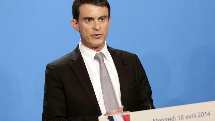 Manuel Valls à l'Elysée, à Paris, le 16 avril 2014. (PHILIPPE WOJAZER / AFP)