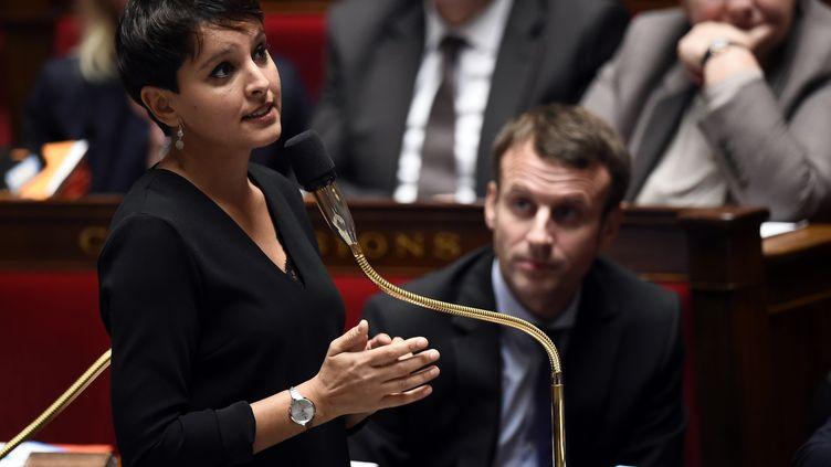 La ministre de l'Education nationale, Najat Vallaud-Belkacem, le 3 novembre 2015 à l'Assemblée nationale. (LIONEL BONAVENTURE / AFP)