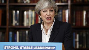 La Première ministre britannique, Theresa May, lors d'un discours à Londres, le 5 juin 2017. (ODD ANDERSEN / AFP)