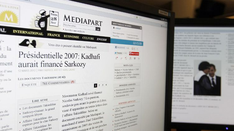 Le site d'information Mediapart a publié, samedi 28 avril 2012,une noteconcernant le financement de la campagne de 2007 de Nicolas Sarkozy. (KENZO TRIBOUILLARD / AFP)