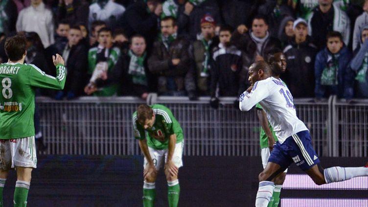 Jimmy Briand marque le but de la victoire au match aller contre Saint-Etienne. (ROMAIN LAFABREGUE / AFP)
