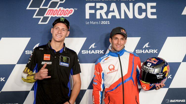 Fabio Quartararo et Johann Zarco en conférence de presse le 13 mai avant le Grand Prix de France de MotoGP (JEAN-FRANCOIS MONIER / AFP)