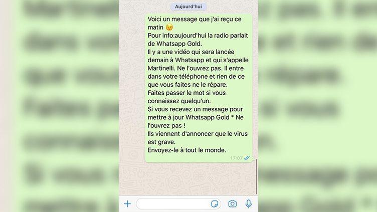 Capture d'écran d'un message reçu sur la plateforme de messagerie WhatsApp. (CAPTURE ECRAN)