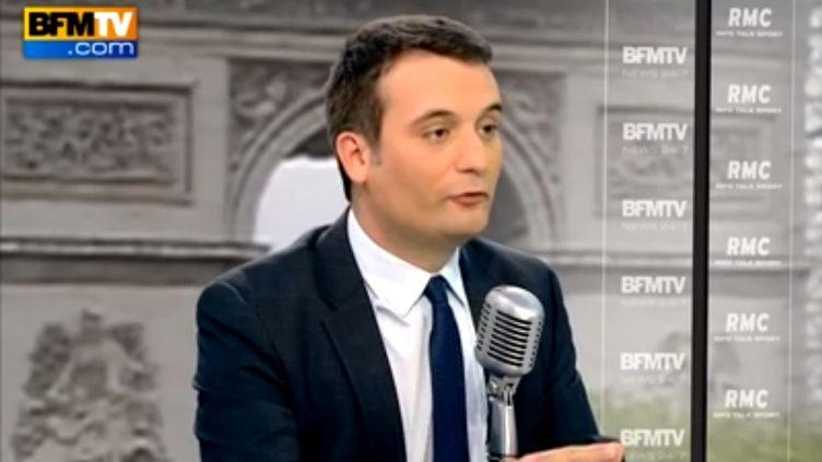 Florian Philippot, vice-président du FN, sur BFMTV, le 21 avril 2014. ( YOUTUBE / FRANCETV INFO )