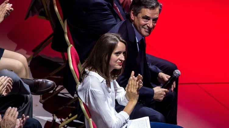 Madeleine De Jessey, porte-parole de Sens commun, et Francois Fillon lors du grand rassemblement autour de Francois Fillon au Cirque d'Hiver, le 21 septembre 2016. (MAXPPP)