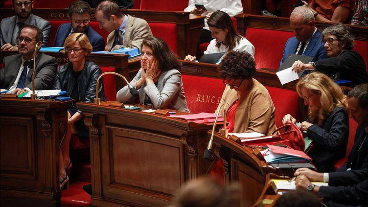 Agnès Buzyn, ministre des Solidarités et de la Santé lors de la présentation du projet de loi sur la bioéthique, mardi 24 septembre à l'Assemblée nationale. (LUC NOBOUT / MAXPPP)