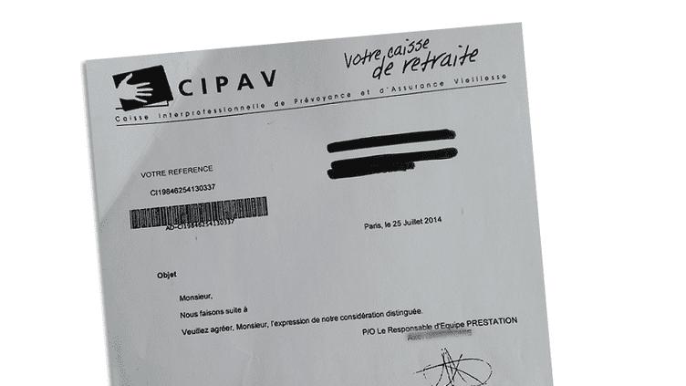 (Un des courriers incohérents envoyés par la Cipav à ses adhérents.)