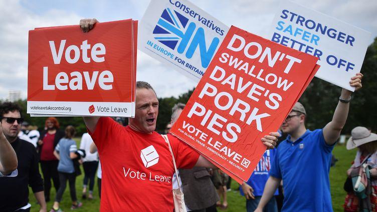 Des militants pro-Brexit affichent des pancartes avec desslogans, le 19 juin, à Londres. (BEN STANSALL / AFP)