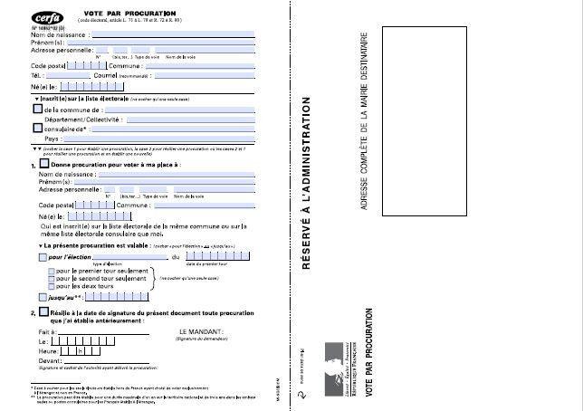 Capture d'écran du document officiel qu'il faut remplirdans le cadre du vote par procuration, en vue du second tour des municipales, le 28 juin 2020. (MINISTERE DE L'INTERIEUR)