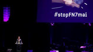 Le directeur général de la Cité de la musique, Laurent Bayle, le 2 mai 2017, lors d'un rassemblement du monde de la culture contre le Front national et sa candidate à la présidentielle, Marine Le Pen. (FRANCOIS GUILLOT / AFP)