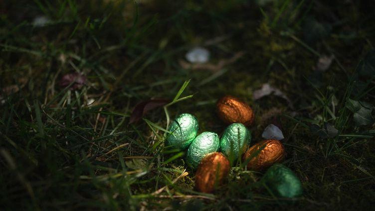 Des œufs de Pâques cachés dans un jardin de Grenoble (Isère), le 1 avril 2021. (MAXIME GRUSS / HANS LUCAS / AFP)