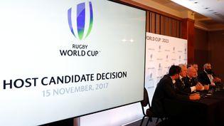 La France a été désignée pays organisateur de la Coupe du monde de rugby 2023, mercredi 15 nomvembre 2017 à Londres. (PAUL CHILDS / REUTERS)