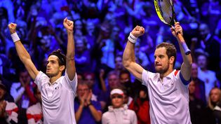 Richard Guasquet et Pierre-Hugues Herbert, lors de la finale de la Coupe Davis, à Lille, le 25 novembre 2017. (PHILIPPE HUGUEN / AFP)