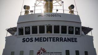 L'Aquarius, navire de secours aux migrants en mer Méditerranée. (ANGELOS TZORTZINIS / AFP)