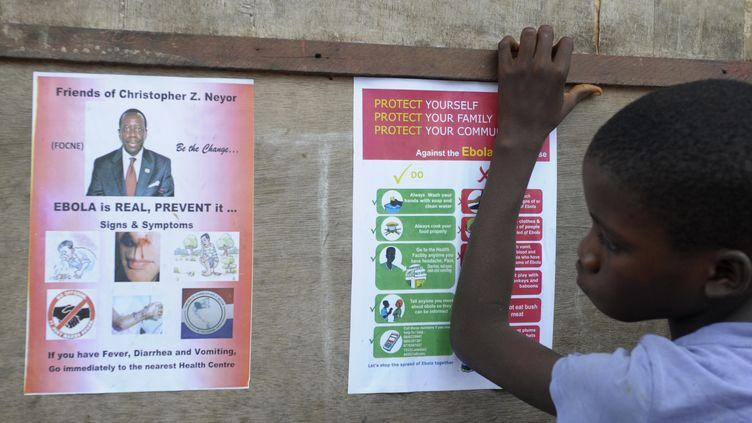 Un garçon lit des messages de prévention sur Ebola, le 17 août 2014 à Monrovia (Liberia). (REUTERS      )