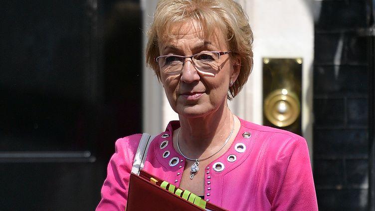 L'ancienne ministre britannique chargée des relations avec le Parlement, Andrea Leadsom,après un Conseil des ministres au 10 Downing Street, le 21 mai 2019 à Londres (Royaume-Uni). (DANIEL LEAL-OLIVAS / AFP)