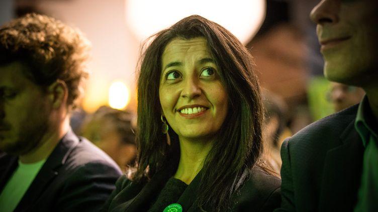 Karima Delli lors d'unMeeting de Europe Ecologie Les Verts (EELV), le 24 septembre 2019. (AURELIEN MORISSARD / MAXPPP)