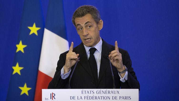 Le président des Républicains, Nicolas Sarkozy, le 10 octobre 2015 au siège de son parti, lors des états généraux de la fédération Les Républicains de Paris. (JOEL SAGET / AFP)