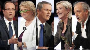 """François Hollande, Eva Joly, Nicolas Dupont-Aignan, Marine Le Pen et Philippe Poutou étaient invités de """"Des paroles et des actes"""" sur France 2,le 11 avril 2012. (AFP / MONTAGE FTVI )"""